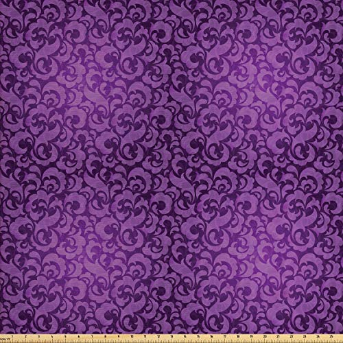 Lunarable Violet Fabric by The Yard, Vintage Inspired Ornamental Antique Motifs Baroque Leaf Silhouettes Floral, Decorative Fabric for Upholstery and Home Accents, 3 Yards, Dark Purple Violet