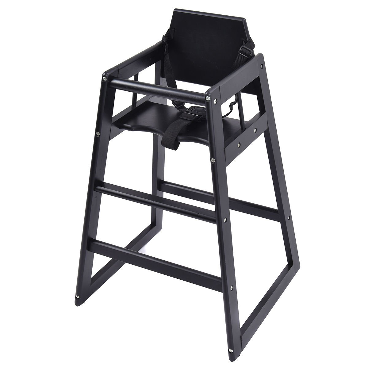 Baby High Chair Infant Toddler Children Feeding Stool Wooden Construction Restaurant Dining Grade Highchair Adjustable Seat Belt And Safety Strap Spacesaver Foot Rest Comfort And Safety
