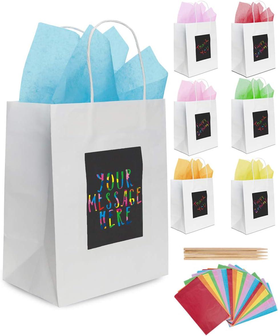 7 Bolsas de Regalo Blancas y Papel de Seda de Purple Ladybug Novelty | Bolsitas Kraft Originales 19x24x12 cm para Personalizar y Envolver Regalos | Envoltorio para Fiestas de Cumpleaños, Navidad y más