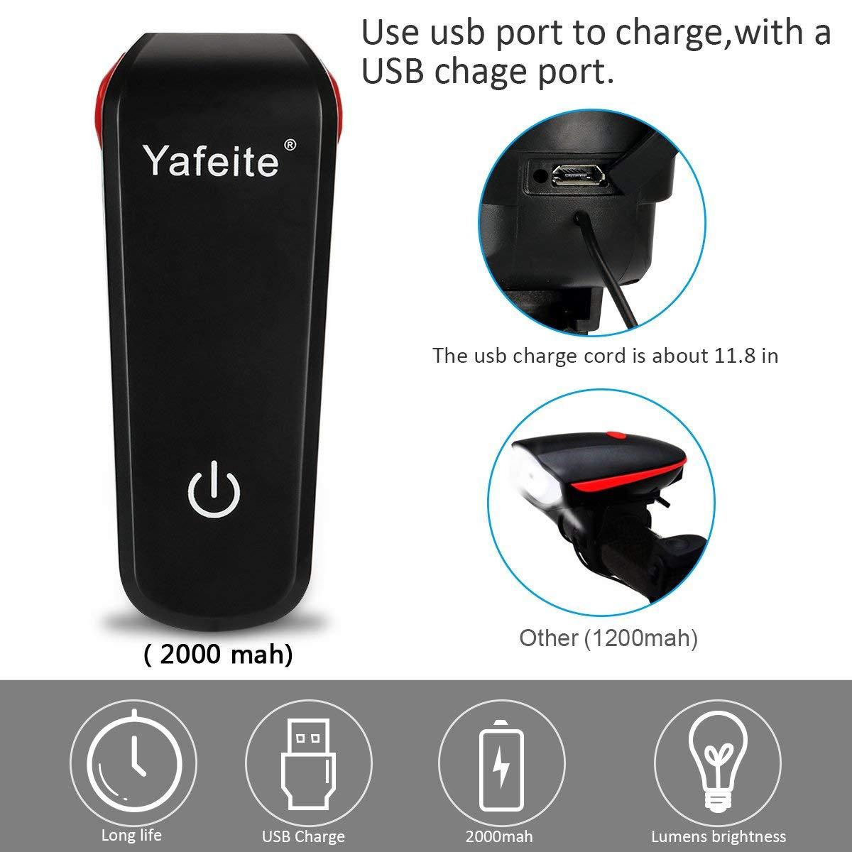 Yafeite Bike Light,Bicycle Headlight USB Rechargeable LED Bike Light Set 350 Lumens Super Bright Touch Switch Waterproof,Kids Adult Road Bike Safety Flashlight