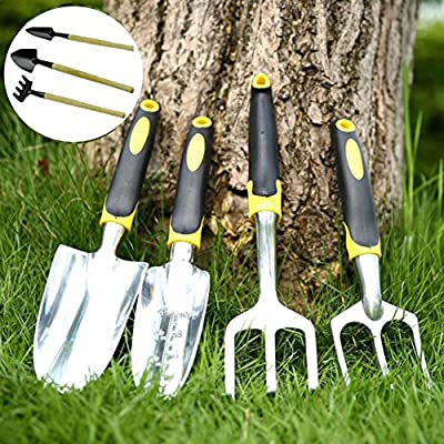 4 Piece Premium Garden Hand Tools Set for Cultivating Digging Weeding Loosening Soil