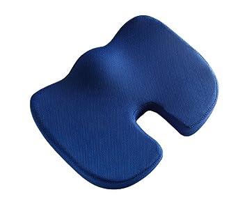 KongEU - Almohadillas ergonómicas de espuma viscoelástica para asiento de silla de oficina, silla de ruedas, sillón reclinable, asientos de coche azul: ...