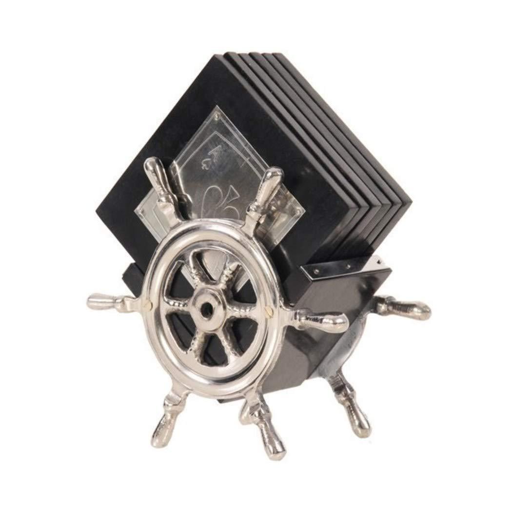 6-ブラックシルバー船ホイール木製コースターのセットwith Aluminumホルダー、ノーティカルテーマSquare Shaped Drinkマット、ホームデコレーションPlaying Cards Spade Ace King Drinkware、メタル木製   B07BC9733D