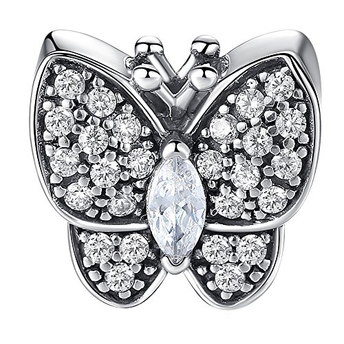 Sparkling Butterfly Charm 925 Sterling Silver Nature Bead Charms fit pandora charms for pandora bracelets, Birthday Mother's Day Gifts for Mom Women Teen Girls Wife Daughter (Butterfly Charm Pave)