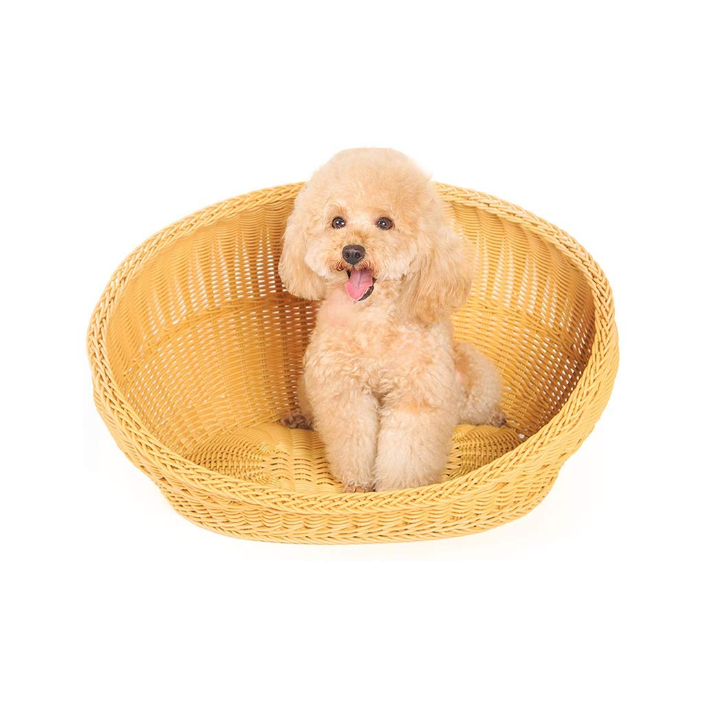 483636cm LIZHIQIANG Rattan Kennel, Four Seasons Rattan Nest Cat Nest Pet Bed, Waterproof Bamboo Basket Smooth No Burr High Toughness Not Broken Pet Waterloo (Size   48  36  36cm)