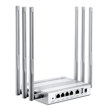 AFOUNDRY Router inalámbrico Dual-Band AC 1200Mbps, Router Avanzado Wi-Fi Metal, Construido en Antena 6x7dBi, 1 Puerto USB, 2.4GHz 300Mbps + 5GHz 867Mbps: ...