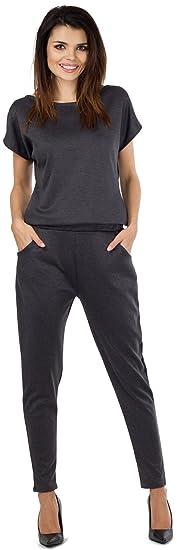 927dad2ef116a8 Talya Damen Casual Elegant Shorte Ärmel Lange Beine Jumpsuit Overall S Grau