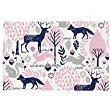 Carousel Designs Bubblegum Pink and Navy Woodland Animals Toddler Bed Pillow Case
