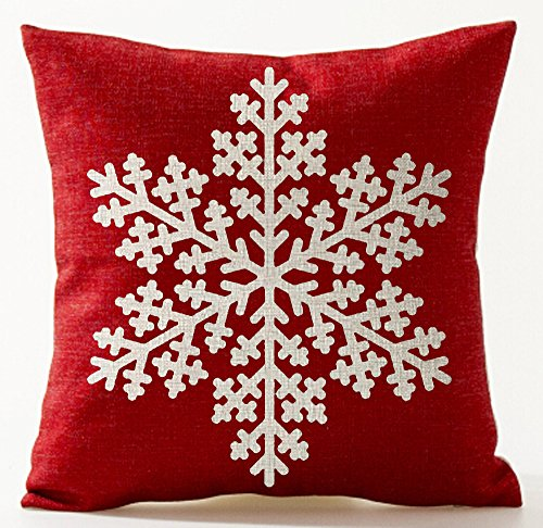 Cotton Linen Scandinavian Modern Geometric Abstract Beige Snowflake Pattern In Red Merry Christmas Gifts Pillow Case Cushion Cover Decorative Sofa Bedroom Living Room Square 18 inches -