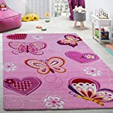 Child's bedroom rug children's rug with butterfly motif contour-cut pink, Size:80x150 cm