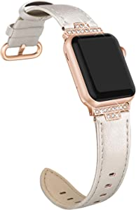 SWEES Leather Band Compatible with iWatch 38mm 40mm, Diamond Dressy Glitter Bling Elegant Stylish Strap Compatible with iWatch Series 6, 5, 4, 3, 2, 1, SE, Sports & Edition Women, Champagne