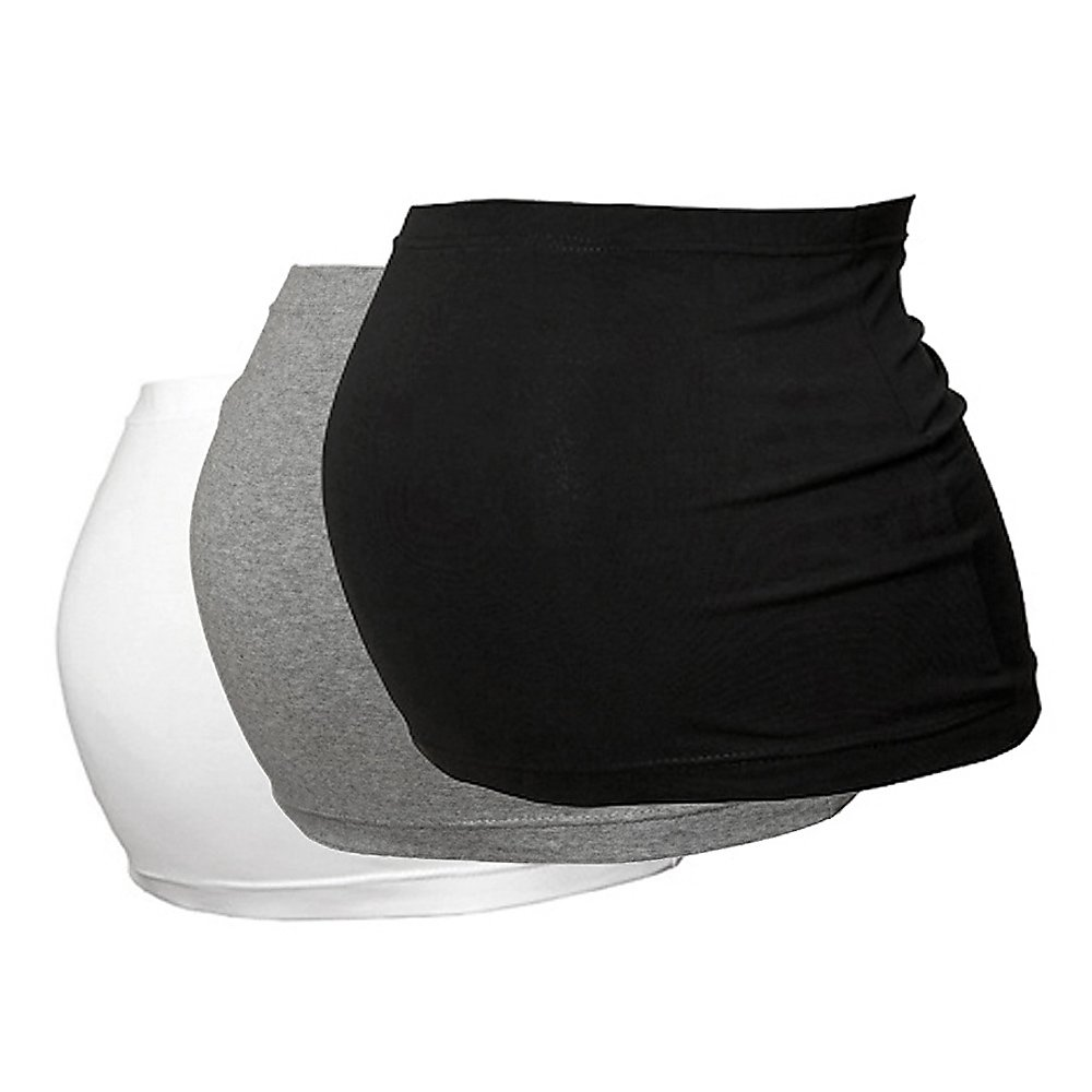 Pack of 3 Maternity Belly Bands by Harry Duley - Black, White, Grey - Sizes 6 to 26
