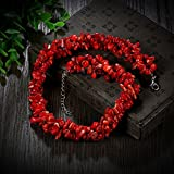Red Stone Chain Necklace Party Wedding Birthday Graduation Gift For Women Girl Mother
