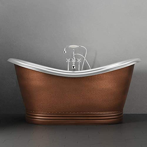 Magnus Home Products 66″ Findley Copper Double-Slipper Roll-Top Bathtub w/Pedestal