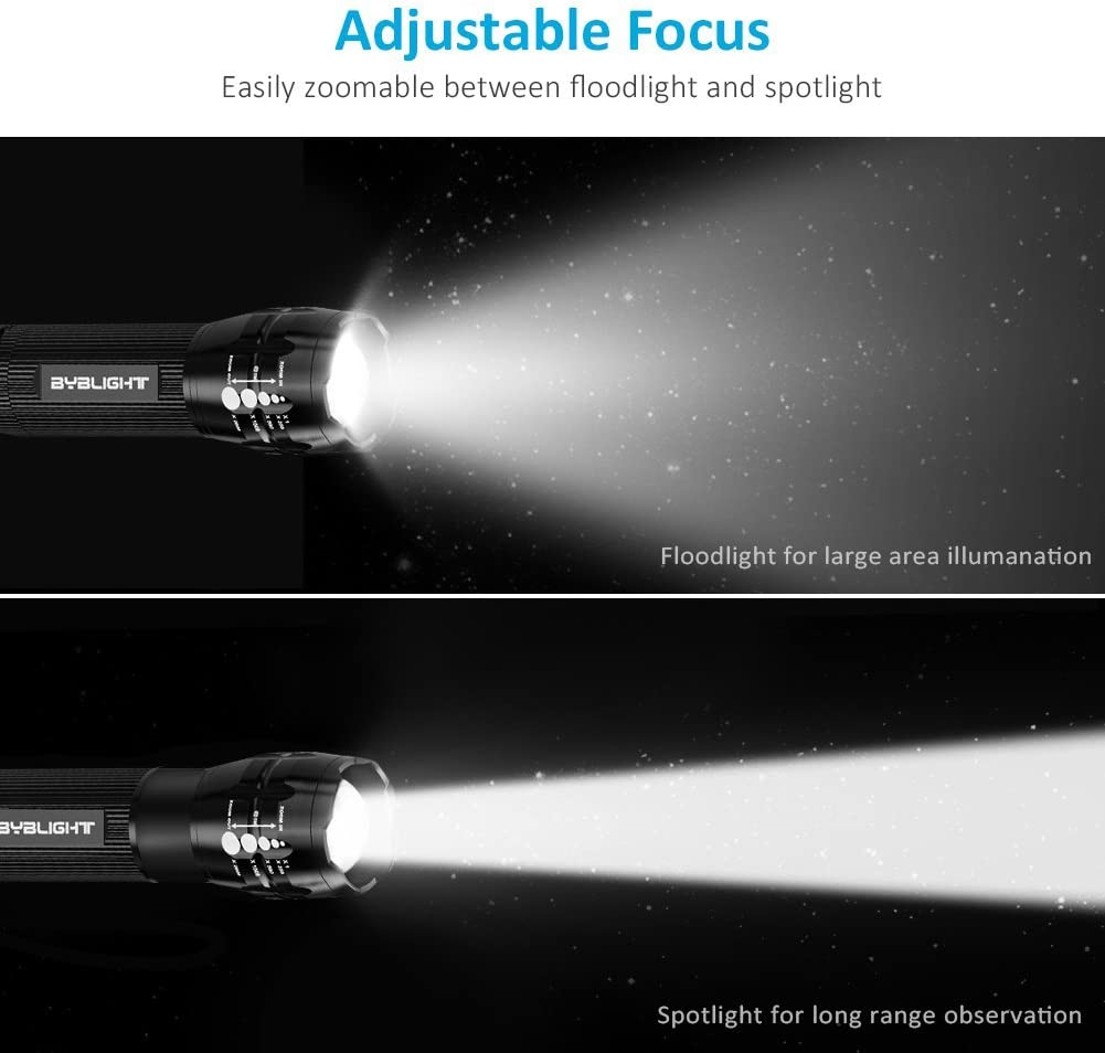 Pack of 4 Flashlights, BYBLIGHT 150 Lumen Ultra Bright LED Flashlight, Zoomable Tactical Flashlight with 3 Modes for Indoors and Outdoors (Camping, Cycling, Emergency, and Gift-Giving) - -