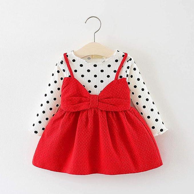 XUANOU Toddler Kids Baby Girls Santa Print Princess Dress Christmas Outfits Clot