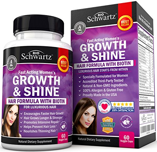Hair Growth Vitamins with Biotin. Exclusive Hair Growth Product for Women for Longer, Stronger, Silky & Soft Hair. Visible results in 1 Month. Gluten Free Non-GMO Vitamins for Hair Growth Made in USA