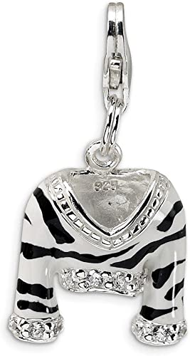 Sterling Silver Red Enameled Love Click-On Lobster Clasp Charm Pendant