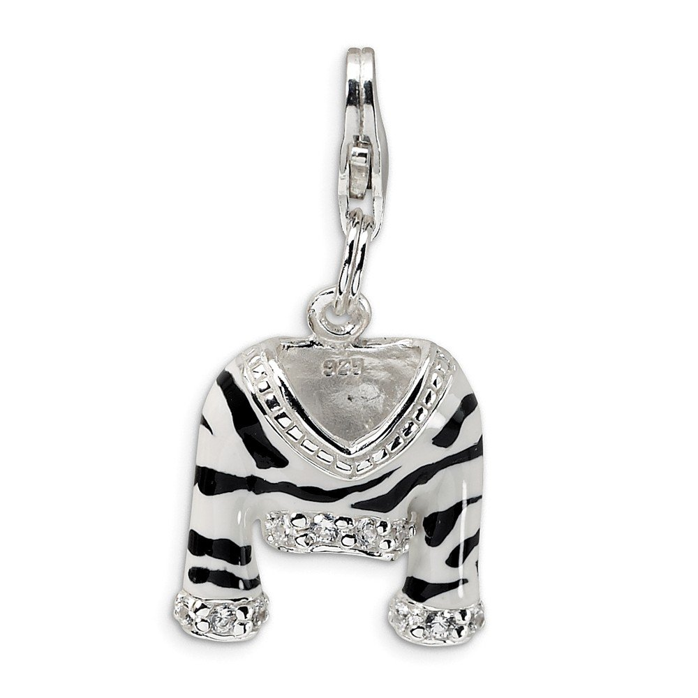 Sterling Silver Rhodium Plated Synthetic CZ Polished Enamel Zebra Jacket with Lobster Clasp Charm (0.6in)