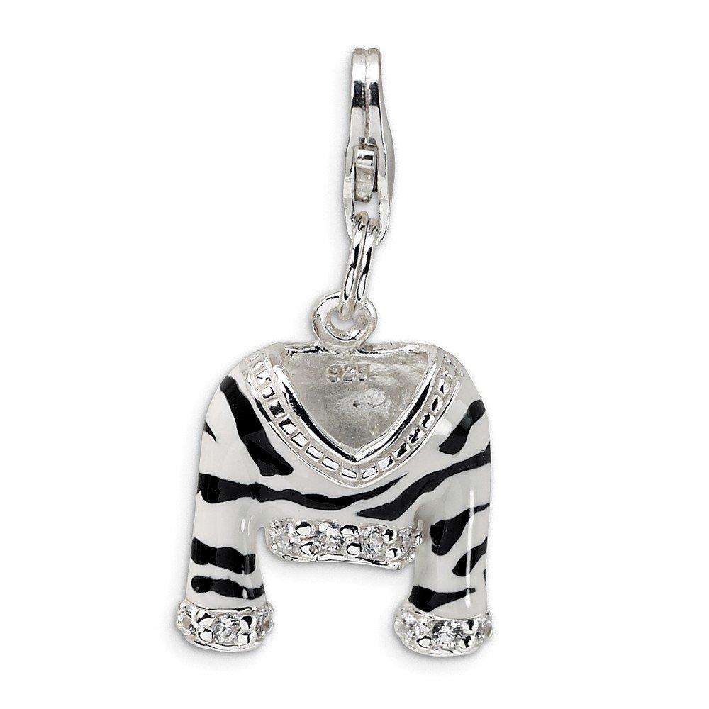 Roy Rose Jewelry Sterling Silver Amore la Vita CZ Polished Enamel Zebra Jacket w/Lobster Clasp Charm
