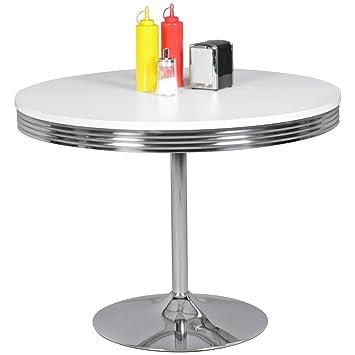 FineBuy PAUL   American Diner Esstisch 120 X 76 X 80 Cm Aus MDF/Aluminium