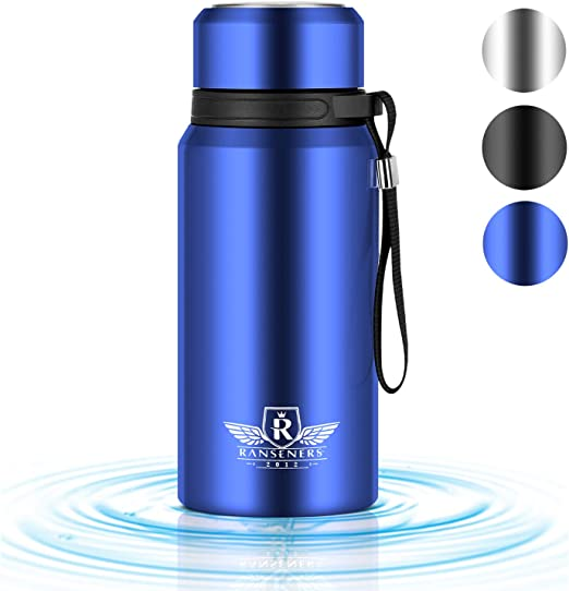 Vacuum Insulated Water Bottle BPA Free Stainless Steel Coffee Thermos Flask Travel Mug Blue 24 oz Hot and Cold Leak Proof Outdoor Sports Drinking Bottle and Carrier for Men Women