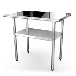 36x24 Inches Commercial Prep Table NSF Stainless Steel Work Tables for Shop Restaurant Home Outdoor Worktable Worktops Food Preparation