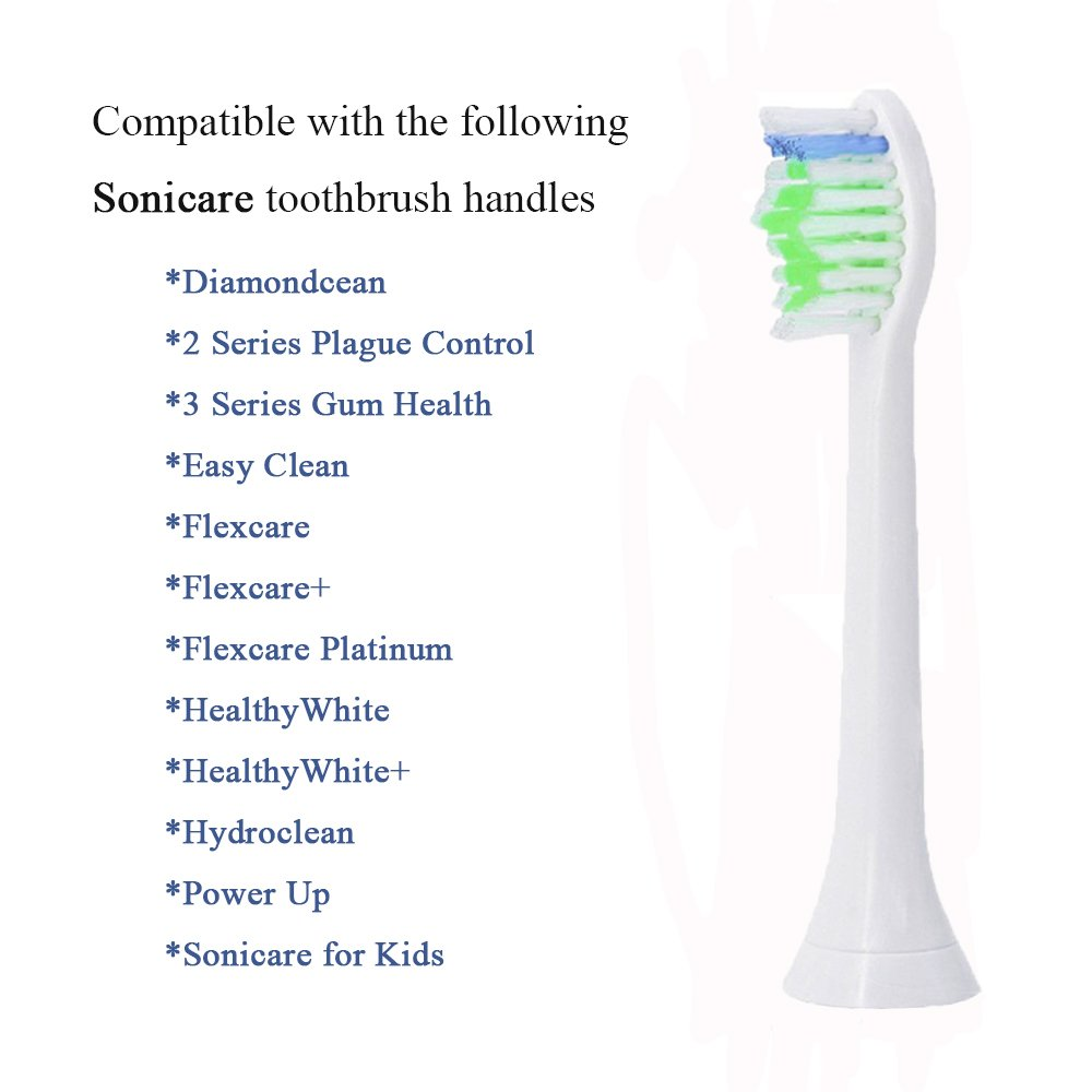 Sonicare Replacement Brush Heads For all Phillips Sonicare Electric Sonic Snap On Toothbrush Handles, DiamondClean,Gum Healthy HealthyWhite, FlexCare,EasyClean, Plaque Control, 4Pack by GUYWANG (Image #2)