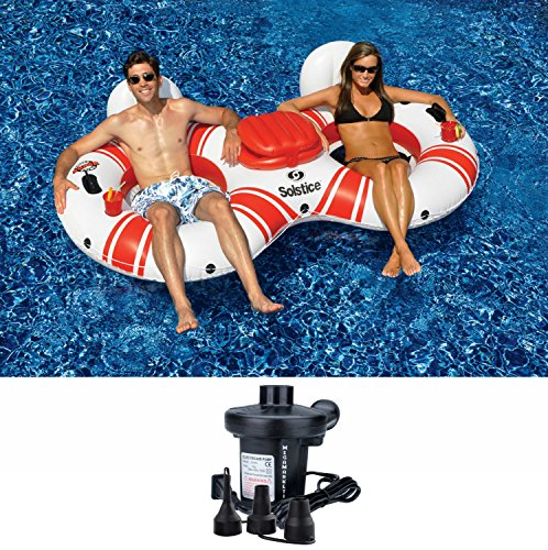 Solstice SuperChill Inflatable 2-in-1 Tube Duo Water/Pool Float for Swimming Pools and (24 Hay Rack)
