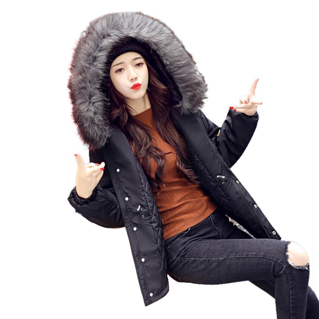 Sonnena mujeres Casual gruesos collar de pelo de invierno Lammy recubrimiento chaqueta abrigo Outwea...