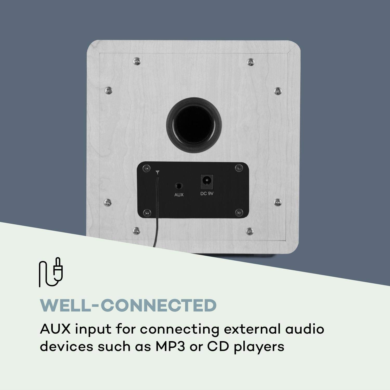 Bluetooth Function for Audio Streaming AUX Input 6 cm 2.4 AUNA Radio Gaga 2.0 Internet and DAB Includes Remote Control Colour: Brown WiFi // FM Tuner DAB HCC Display // FM Radio