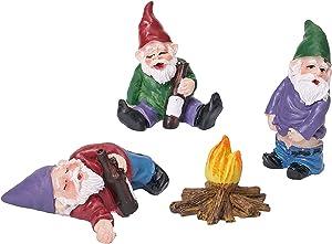 LUOWAN 4pcs Fairy Garden Accessories Decorations Collectible Figurines Miniature Gardening Gnomes Figurines Ornaments Gnome Kit Mini Gnomes Fairy Garden My Little Friend Drunk Dwarfs Statue