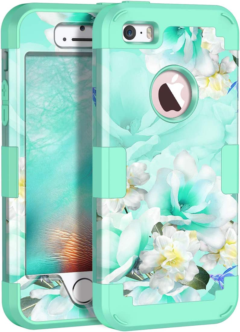 Casetego Compatible with iPhone 5 5S SE Case,Floral Three Layer Heavy Duty Hybrid Sturdy Shockproof Protective Cover Case for Apple iPhone 5 5S SE Case,Green/White