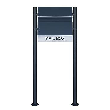 LZQ Neu Typ Edelstahl Briefkasten anthrazit mit zeitungsrolle Wandbriefkasten mit Zeitungsfach Pulverbeschichtet Postkasten Mailbox mit Doppelrohr standfu/ß Modell Ⅱ, B mit Doppelrohr Standfu/ß