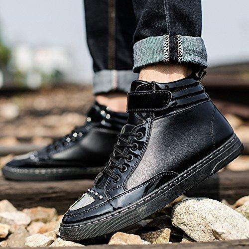 NSXZ La nuova tendenza di stivali moda casual da uomo Martin stivali alti stivali per aiutare gli uomini , 41 BLACK-43