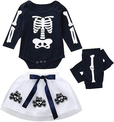 Tefamore 0-24 Meses Ropa Bebe Niña Disfraz Halloween Cráneo ...