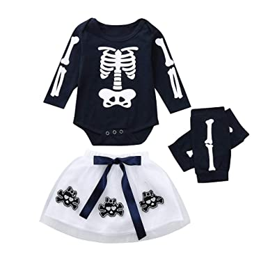 MAYOGO Ropa Halloween Calavera Conjunto Niña Camiseta Manga Larga ...