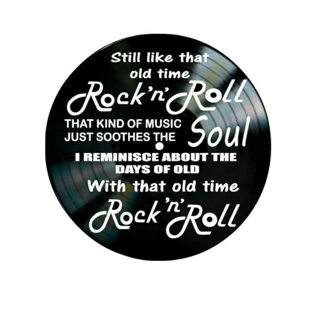 Old Time Rock N Roll song lyrics by Bob Seger on a Vinyl Record Album Wall Decor