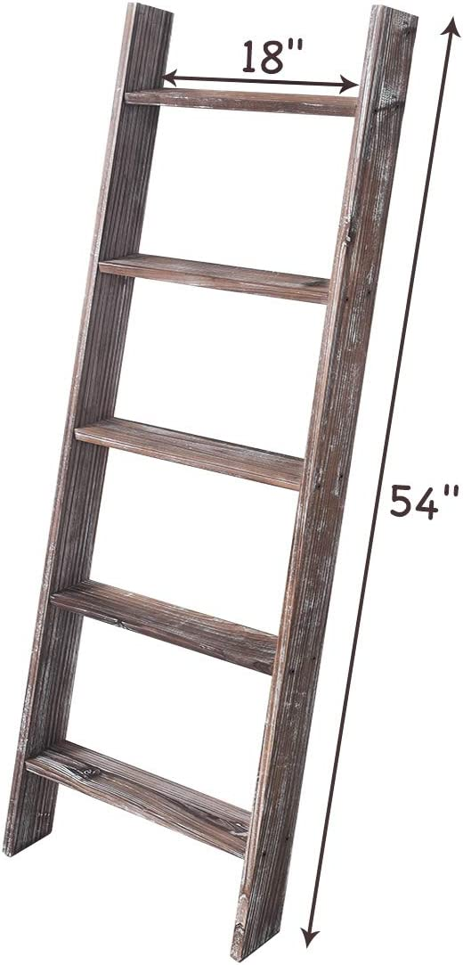 Assembly Required Heave Duty Ladder for Blanket Rustic Brown, 4.5 Ft Farmhouse Blanket Ladder 4.5-Feet RHF 54 Extra Thick Decorative Blanket Ladder,Rustic Wood Ladder Storage Ladder Quilt Rack