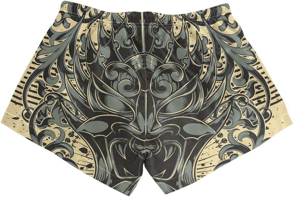 HEOEH Womens Skull Lion Leaf Pattern Beach Shorts Pants Ladies Boardshort Swimming Trunks