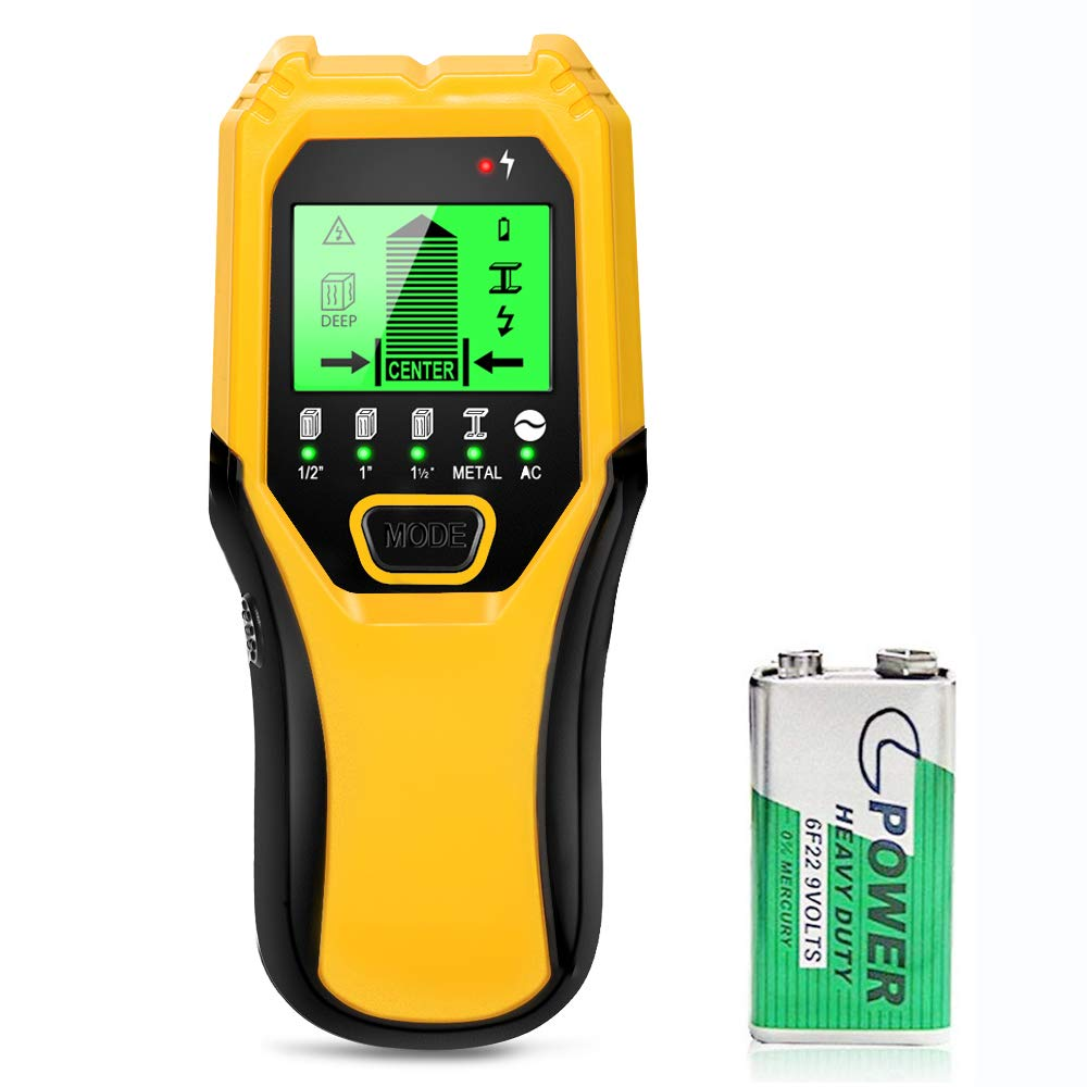 Stud Finder Sensor Wall Scanner - 5 in 1 Electronic Stud Sensor Locator Wood Beam Joist Finders Wall Detector Edge Center Finding with LCD Display for Wood Live AC Wire Metal Studs Detection (Yellow) by Tavool