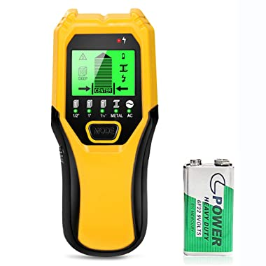 Stud Finder Wood Metal Detector - 5 in 1 Electronic Stud Sensor Wall Scaner Beam Joist Finders Wall Detector Edge Center Finding with battery LCD Display for Wood Live AC Wire Metal Studs Detection