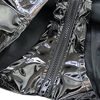 CHICTRY Women's Sleeveless Turtleneck Zipper Front Patent Leather Leotard Bodysuit