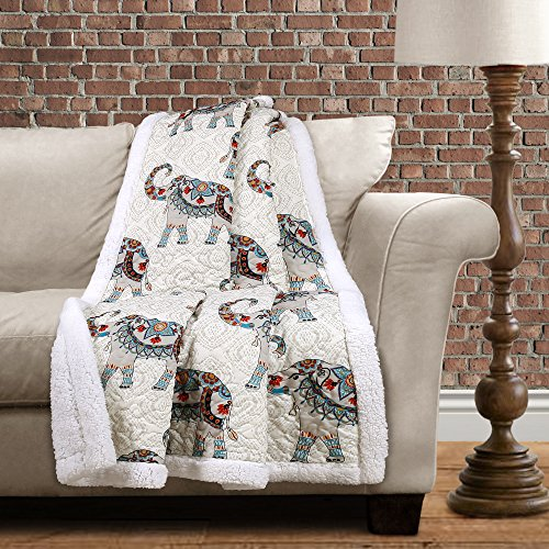 "Lush Decor Hati Elephants Sherpa Throw, 60"" x 50"", Navy/Turq"