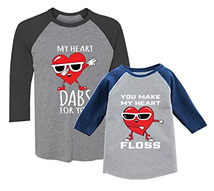 4208845e Mother and Daughter/Son Matching 3/4 Shirt for Valentines Day Dab/Floss
