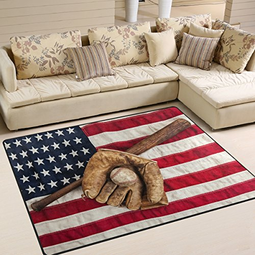 (ALAZA Vintage Baseball Sport American Flag Area Rug Rugs for Living Room Bedroom 5'3