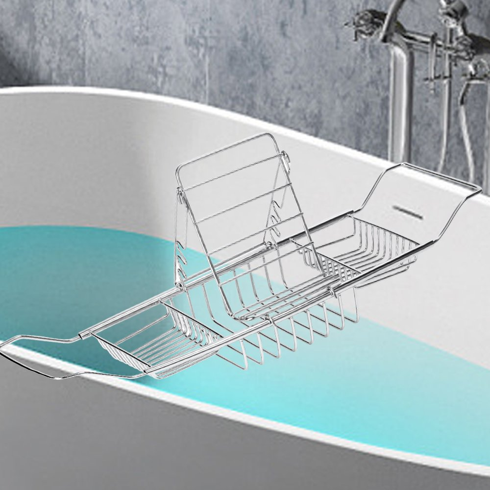 Amazon.com: LANG DENG Stainless Steel Bathtub Caddy With Expandable ...