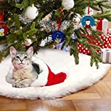 Christmas Tree Skirt White Faux Fur Luxury Soft Snow Tree Skirts for Xmas Holiday Decorations Pet favors 48 Inches