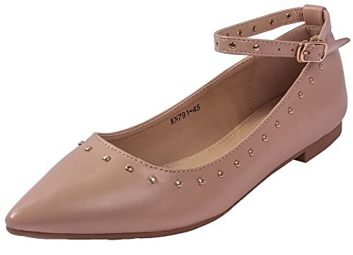 AgeeMi Shoes Damen Niets Spitze Zehe Ankle Strap Ballerinas Flache Schuhe