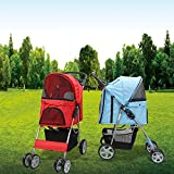 Magshion Premium Quality Pet Cat Dog Stroller Travel Carrier Light Weight (Red)